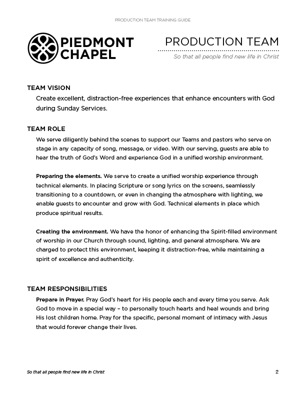 My Production Team Training Guide – The Creative Pastor