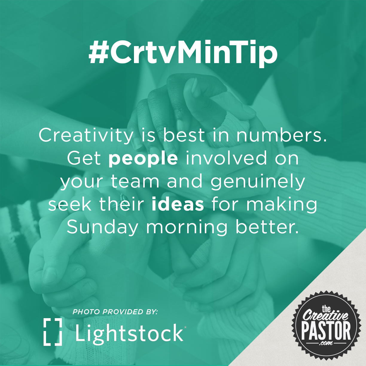 Creativity is best in numbers. Get people involved on your team and genuinely seek their ideas for making Sunday morning better.
