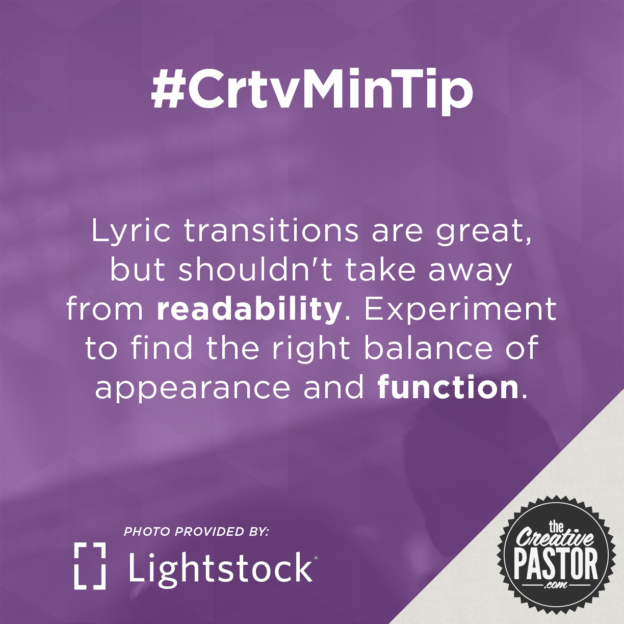 Lyric transitions are great, but shouldn't take away from readability. Experiment to find the right balance of appearance and function.