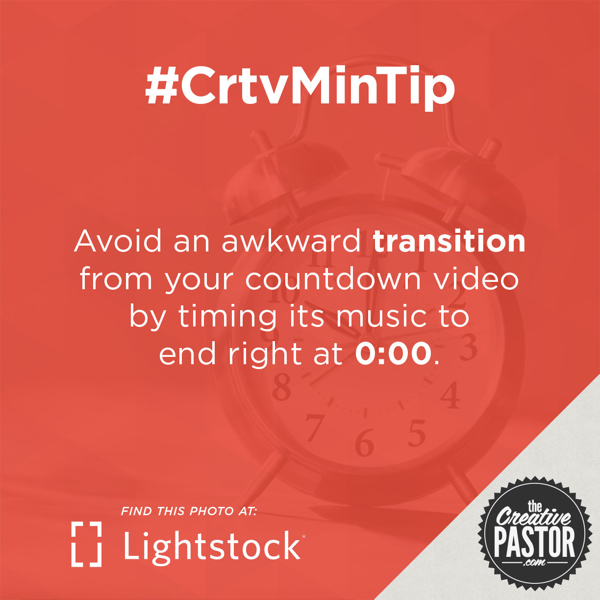Avoid an awkward transition from your countdown video by timing its music to end right at 0:00.