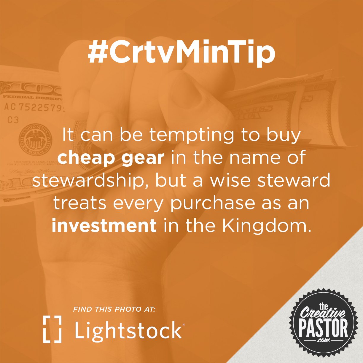 It can be tempting to buy cheap gear in the name of stewardship, but a wise steward treats every purchase as an investment in the Kingdom.