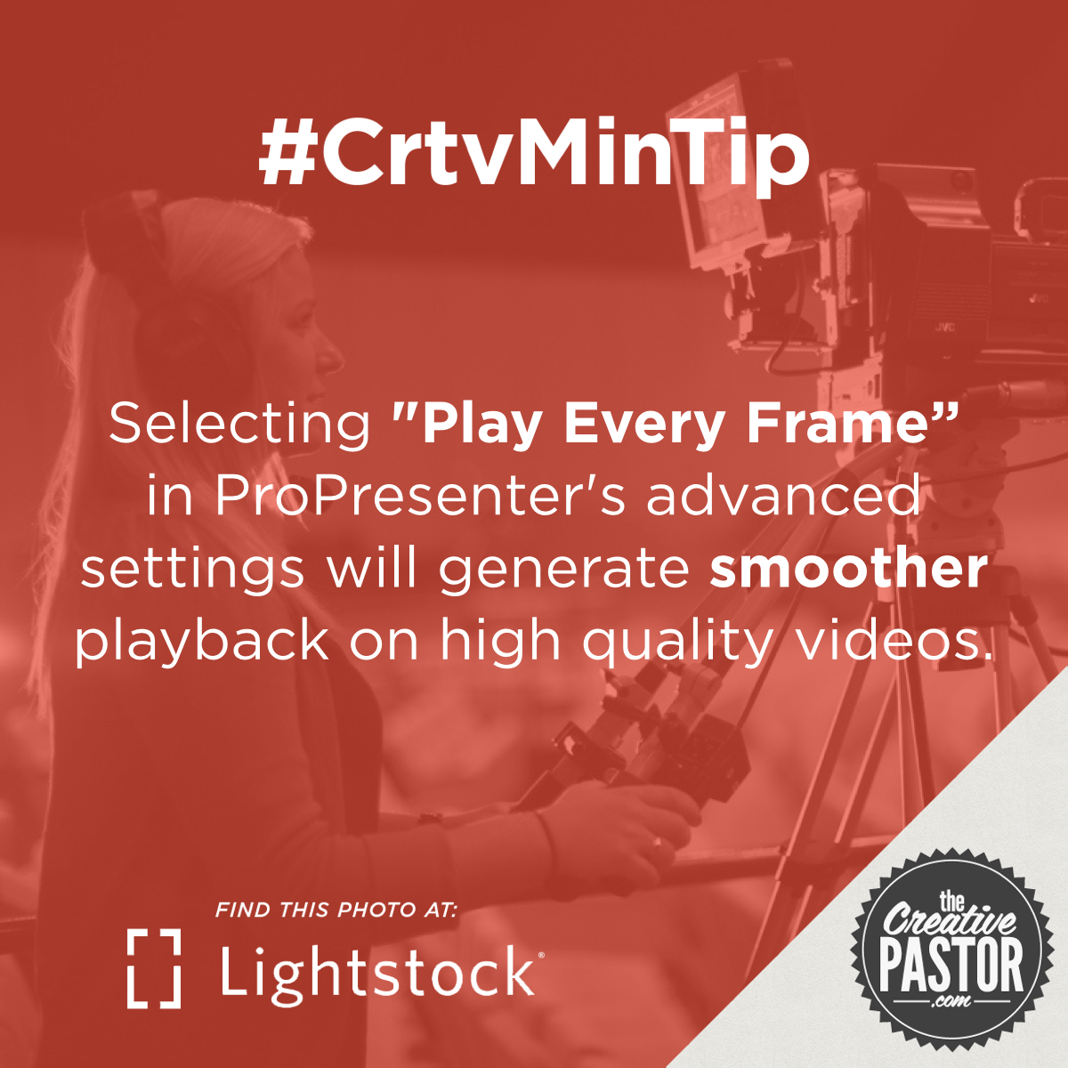 "Selecting ""Play Every Frame"" in ProPresenter's advanced settings will generate smoother playback on high quality videos."
