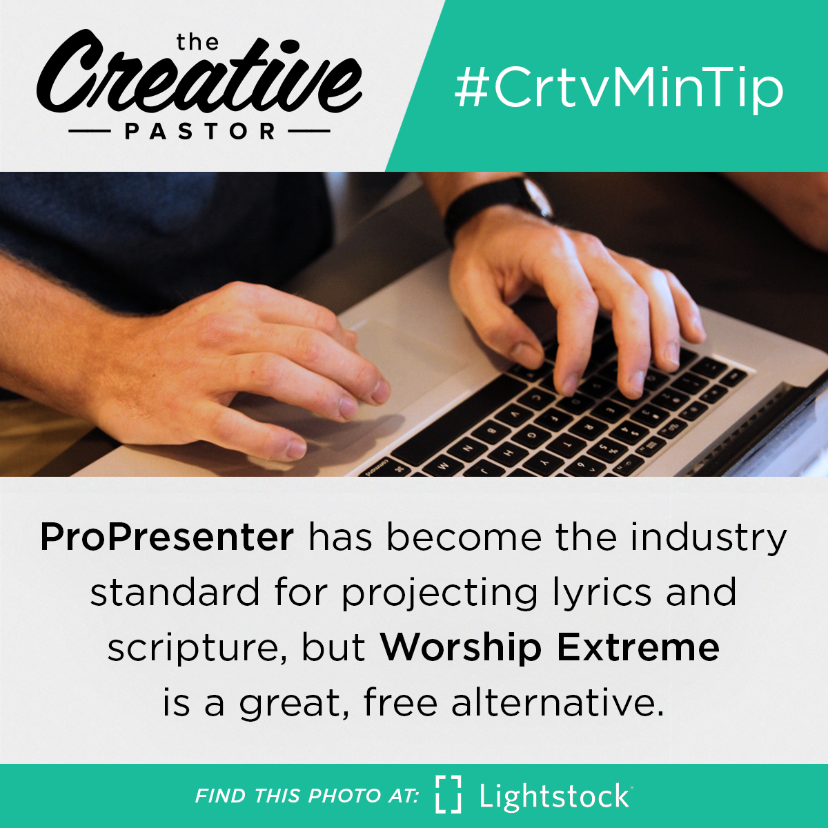 ProPresenter has become the industry standard for projecting lyrics and scripture, but Worship Extreme is a great, free alternative.