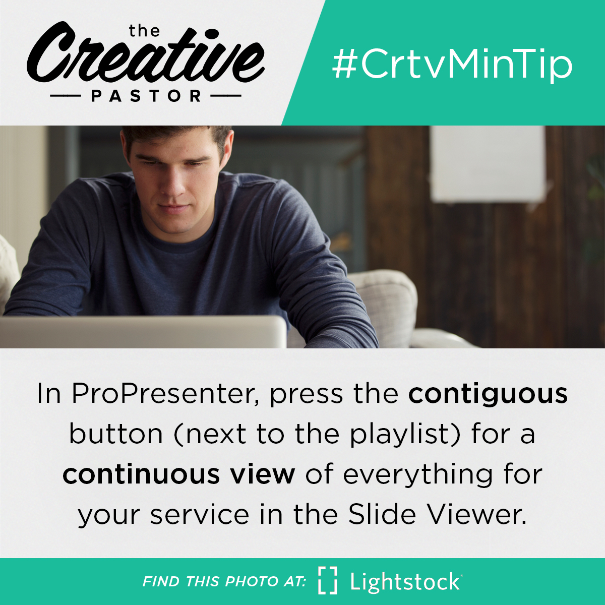 In ProPresenter, press the contiguous button (next to the playlist) for a continuous view of everything for your service in the Slide Viewer.