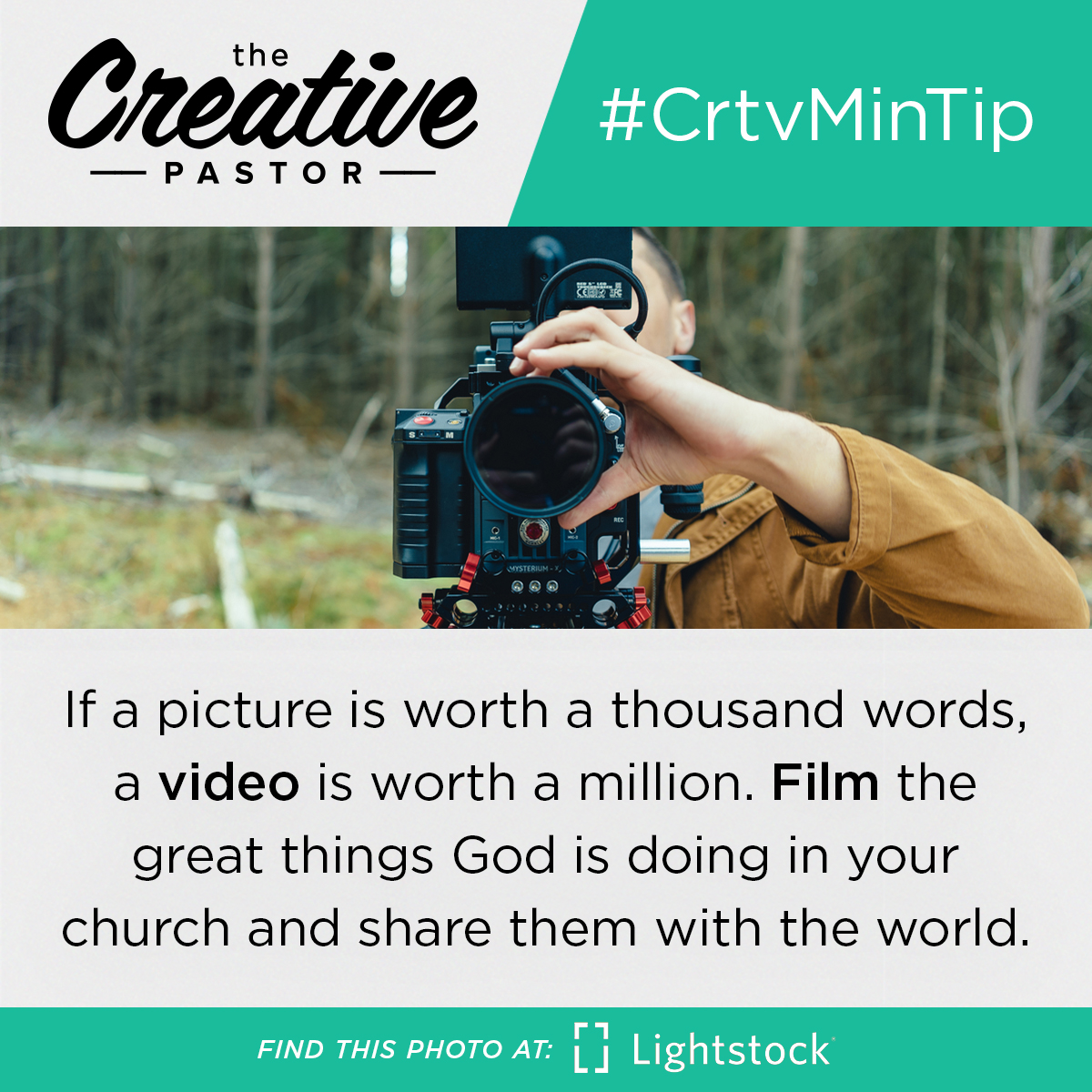 If a picture is worth a thousand words, a video is worth a million. Film the great things God is doing in your church and share them with the world.