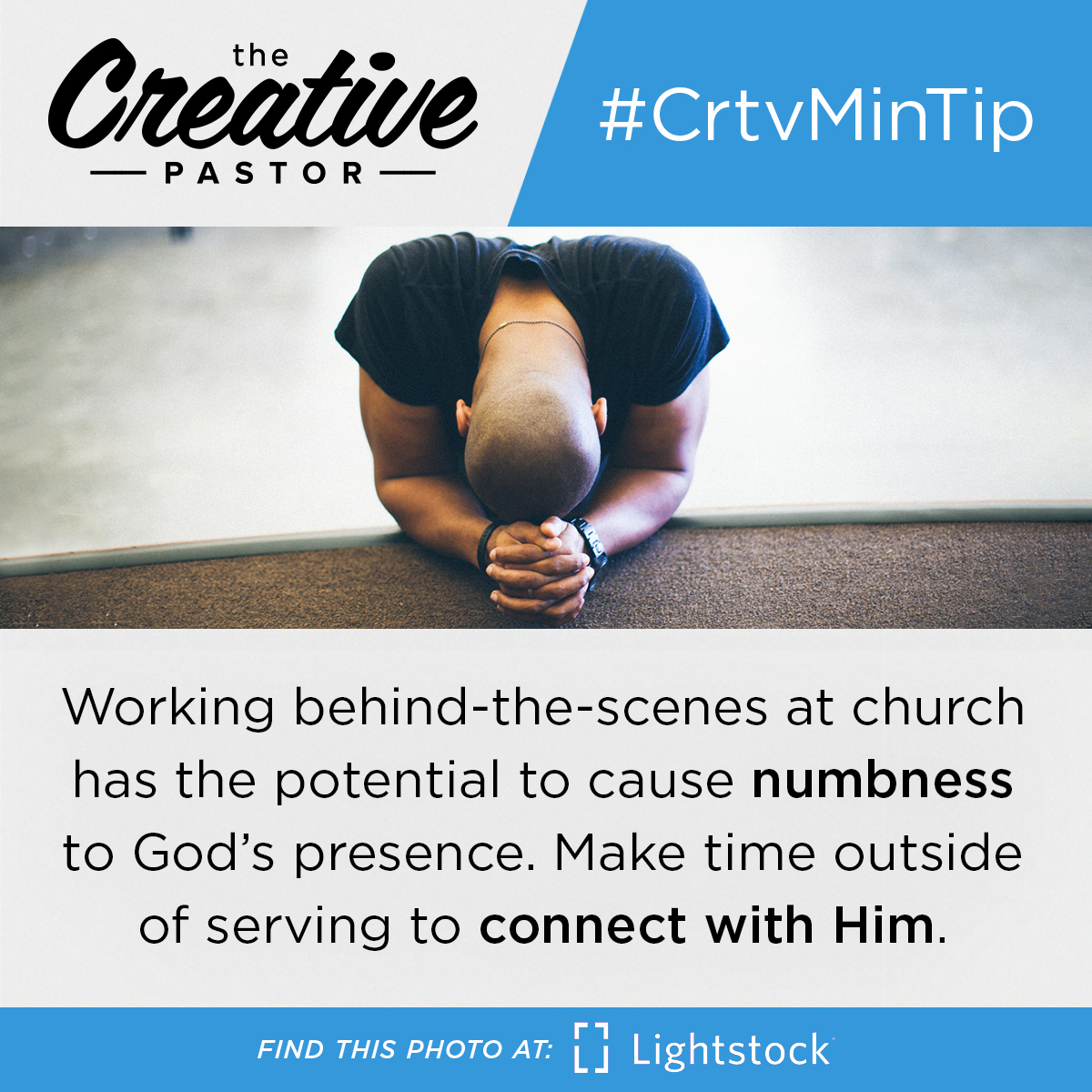 Working behind-the-scenes at church has the potential to cause numbness to God's presence. Make time outside of serving to connect with Him.