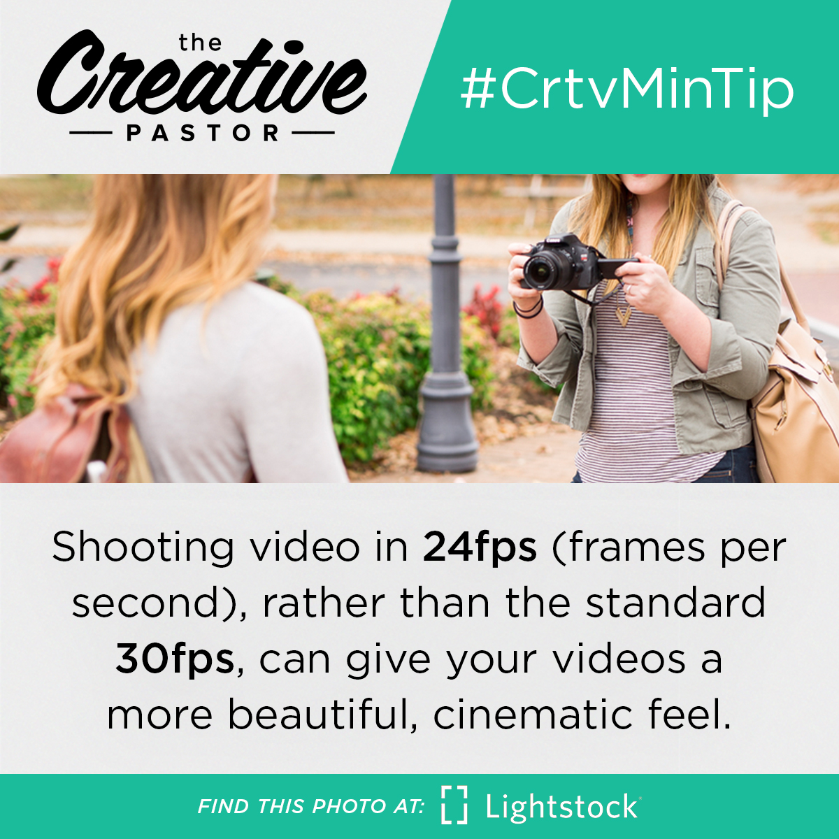 Shooting video in 24fps (frames per second), rather than the standard 30fps, can give your videos a more beautiful, cinematic feel.
