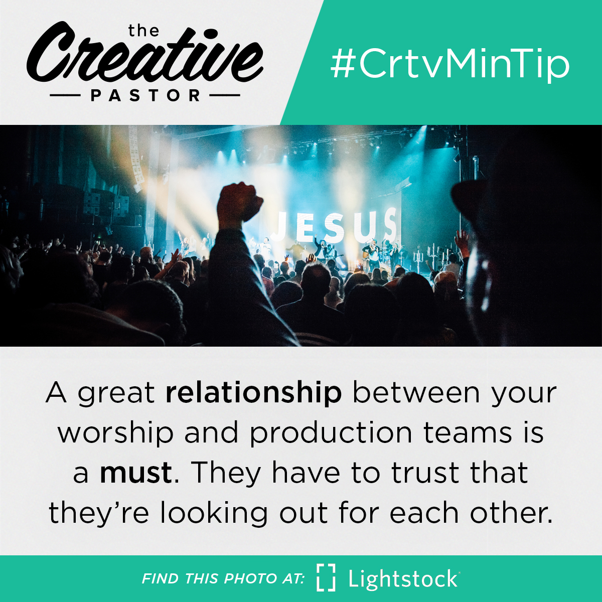 #CrtvMinTIp: A great relationship between your worship and production teams is a must. They have to trust that they're looking out for each other.