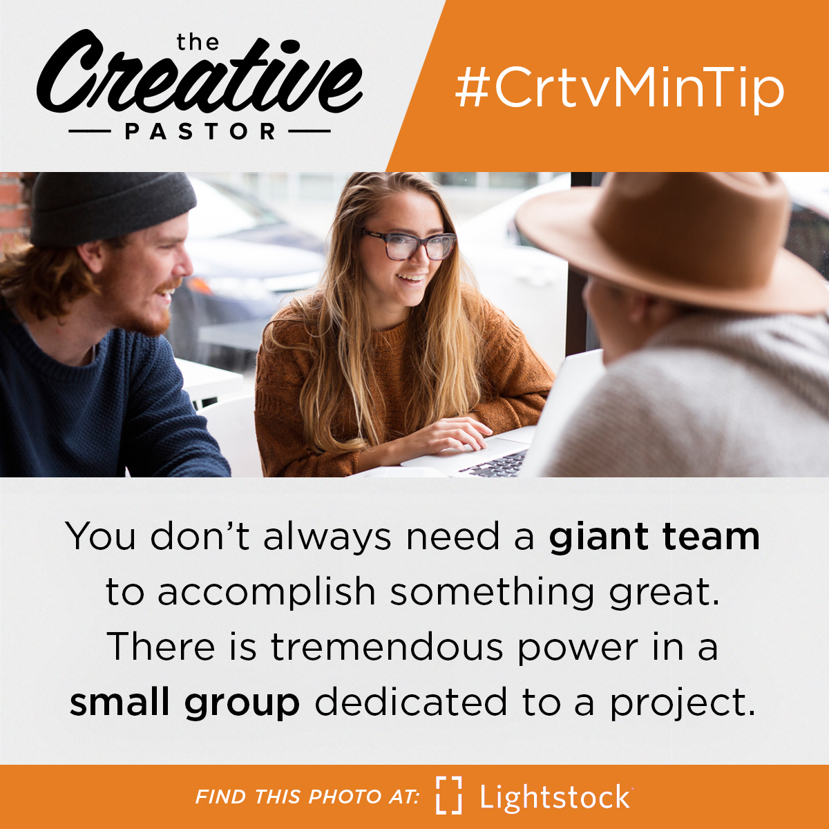#CrtvMinTip: You don't always need a giant team to accomplish something great. There is tremendous power in a small group dedicated to a project.