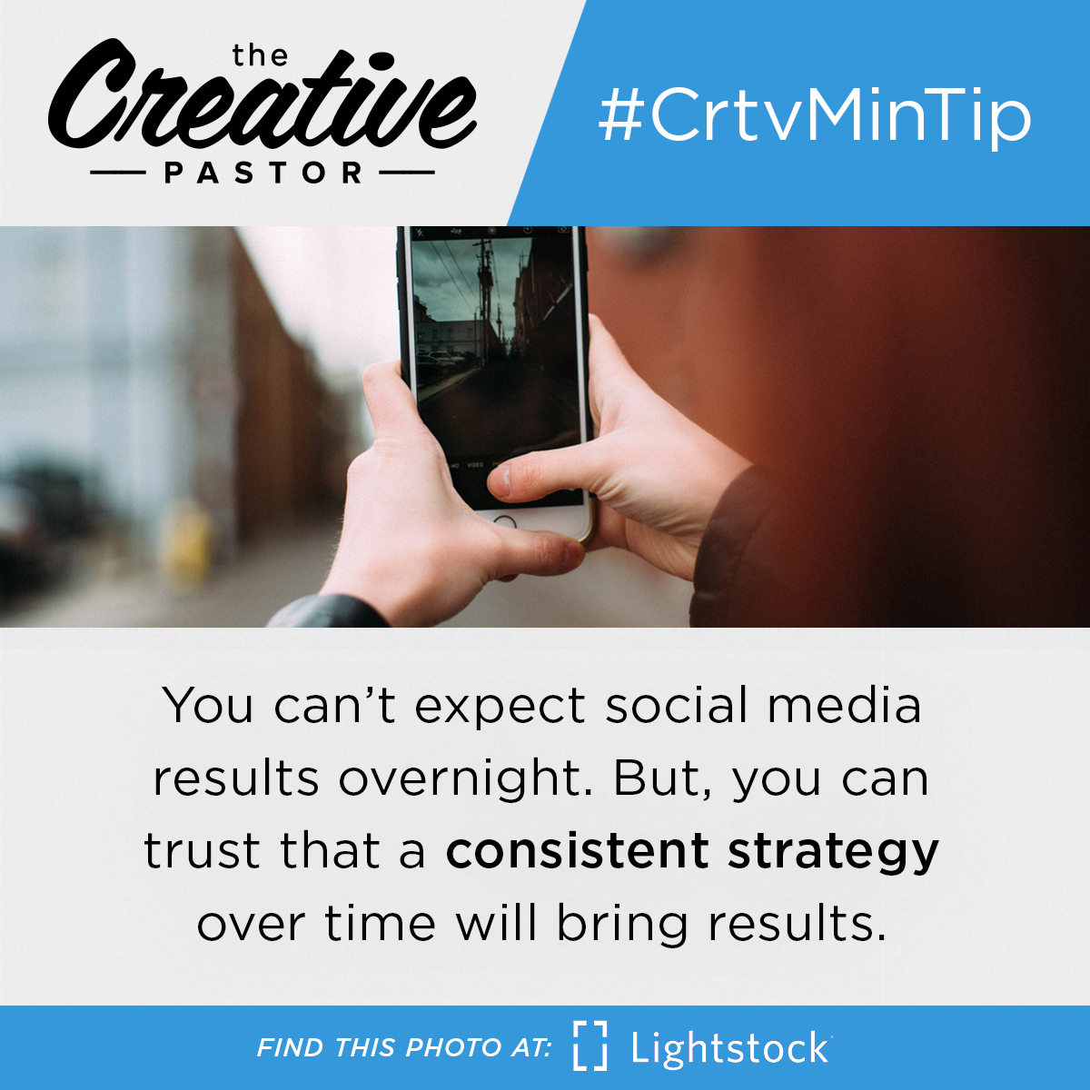 #CrtvMinTip: You can't expect social media results overnight. But, you can trust that a consistent strategy over time will bring results.