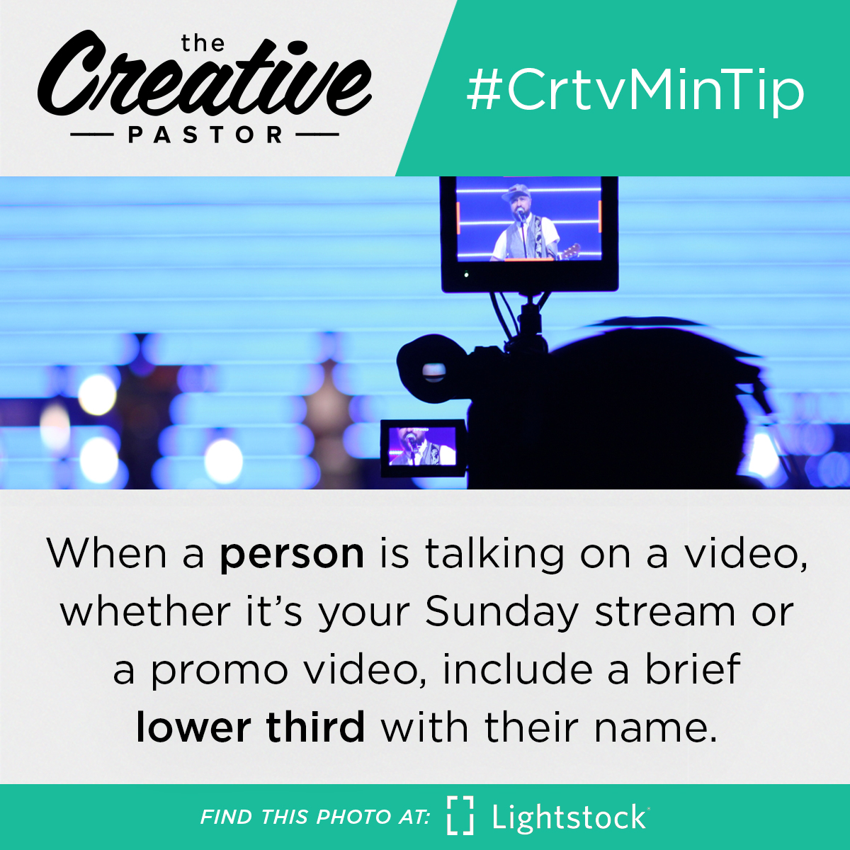 #CrtvMinTip: When you have a person talking on a video, whether it's your Sunday stream or a promo video, include a brief lower third with their name.