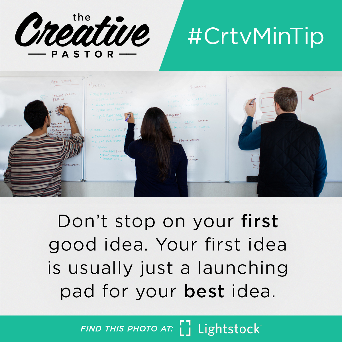 #CrtvMinTip: Don't stop on your first good idea. Your first idea is usually just a launching pad for your best idea.