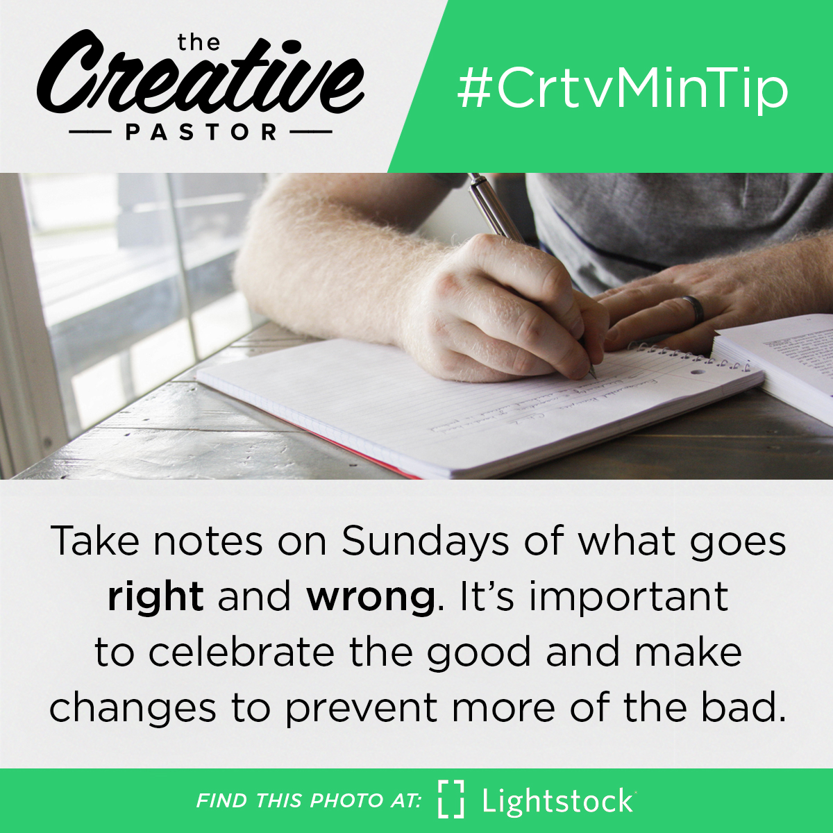 #CrtvMinTip: Take notes on Sundays of what goes right and wrong. It's important to celebrate the good and make changes to prevent more of the bad.