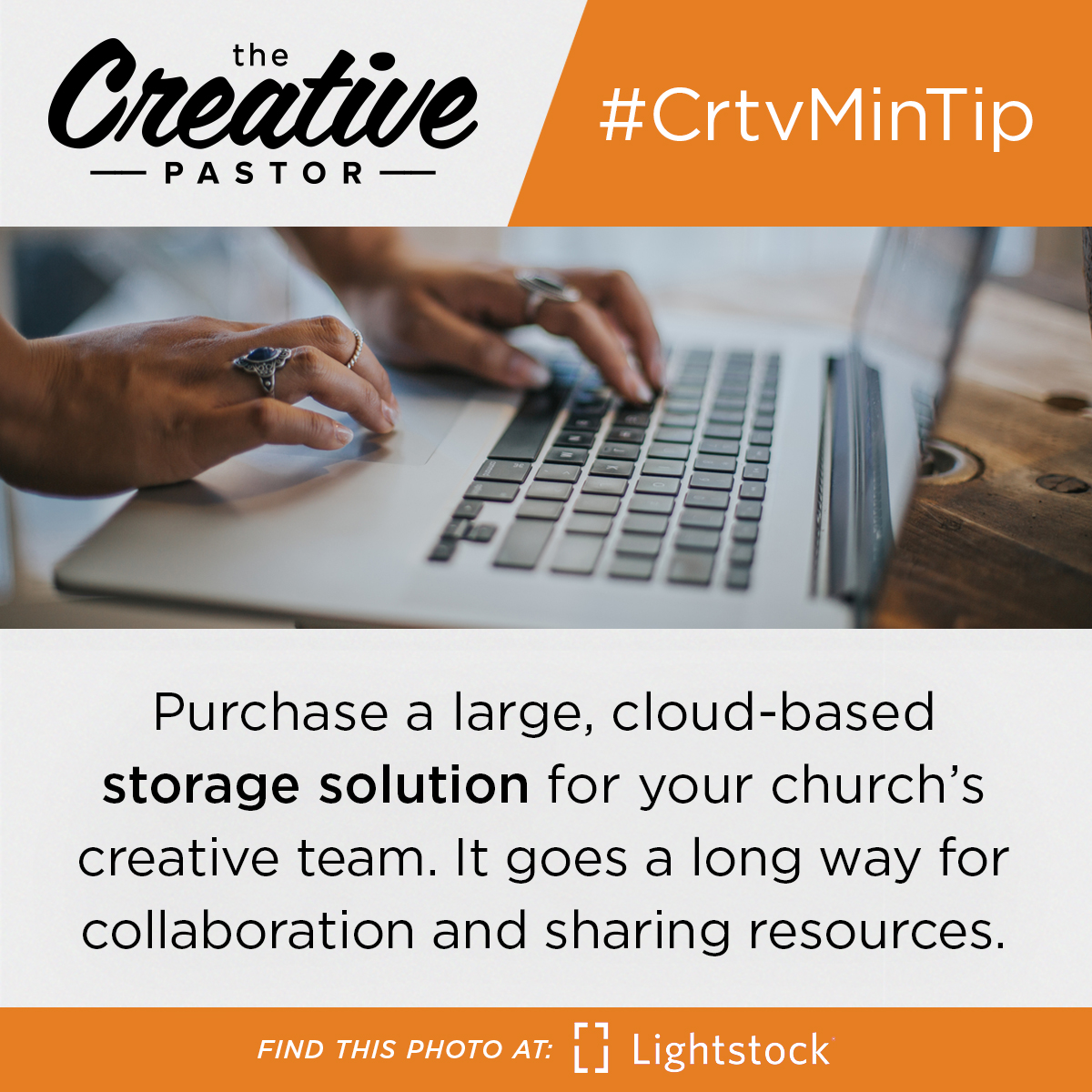 #CrtvMinTip: Purchase a large, cloud-based storage solution for your church's creative team. It goes a long way for collaboration and sharing resources.