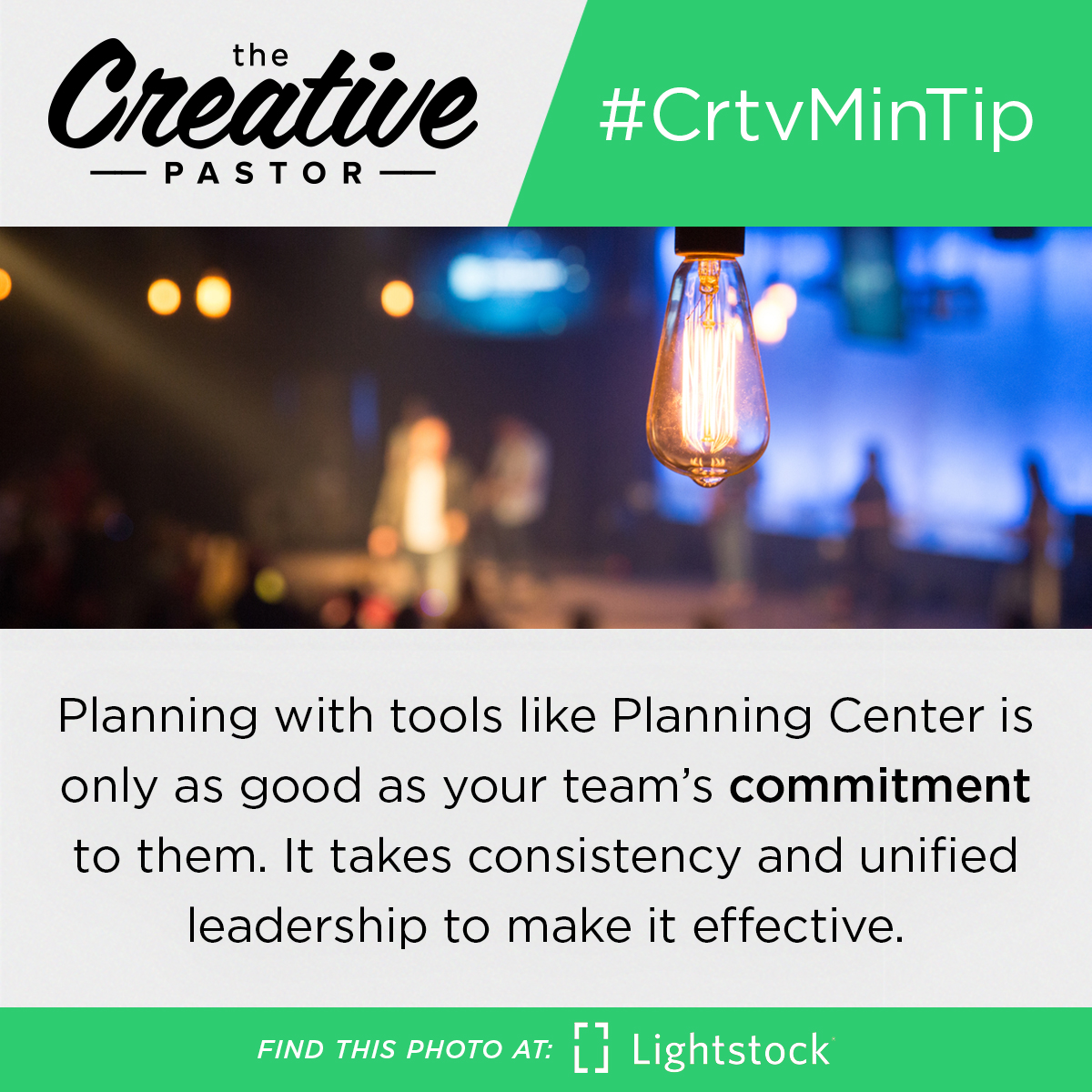#CrtvMinTip: Planning services with tools like Planning Center is only as good as your team's commitment to them. It takes consistency and unified leadership to make it effective.