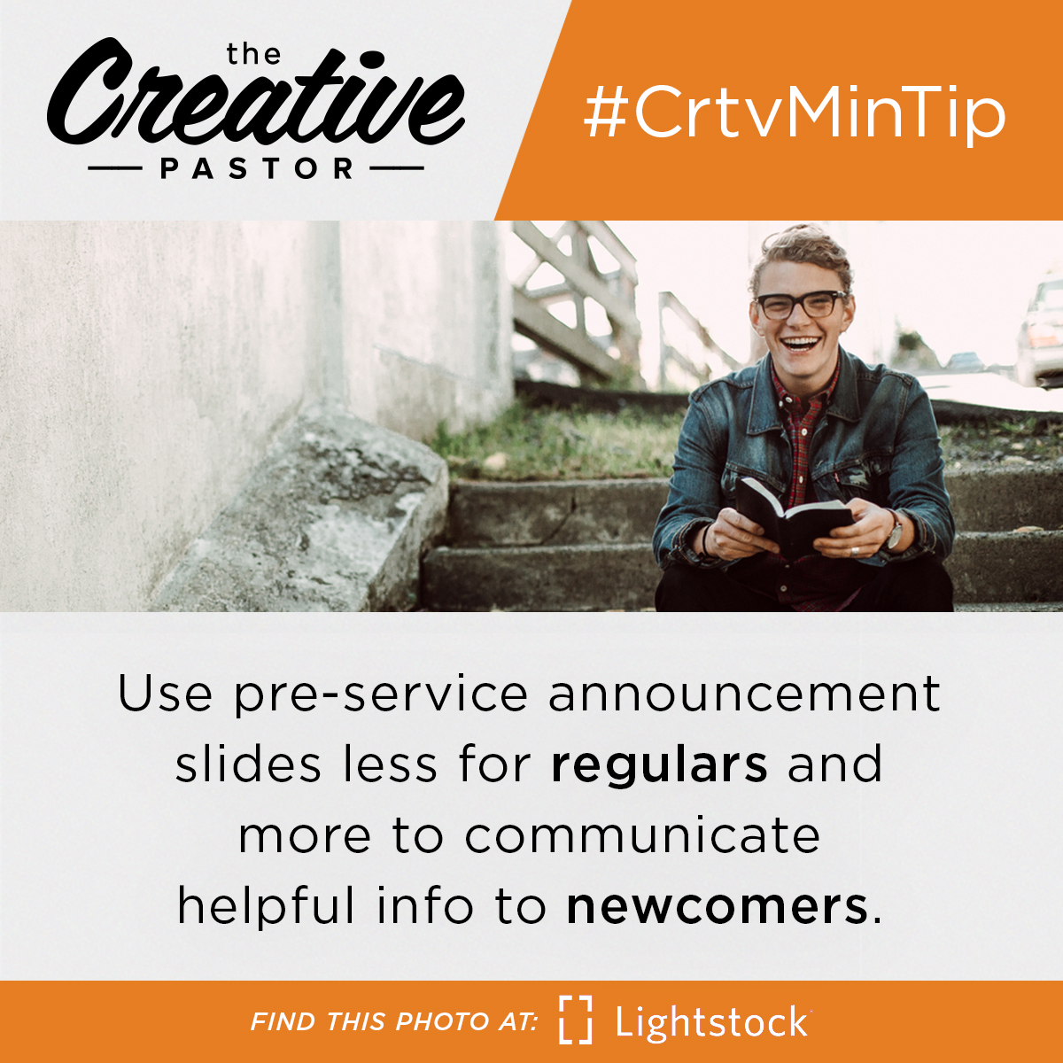 #CrtvMinTip: Use pre-service announcement slides less for regulars and more to communicate helpful info to newcomers.