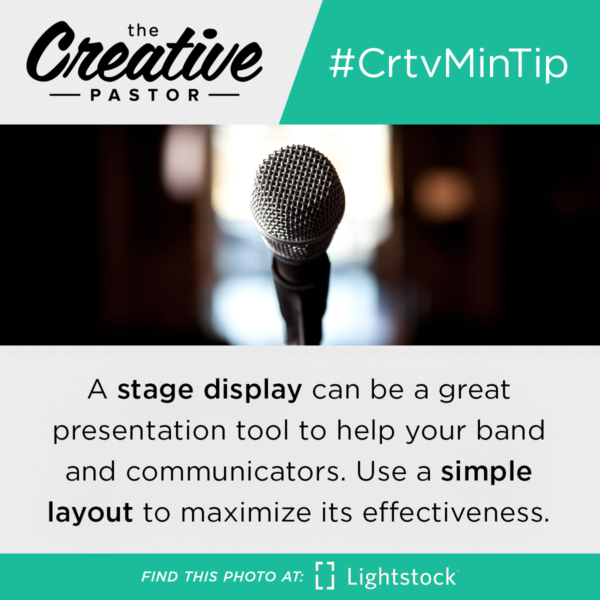 #CrtvMinTip: A stage display can be a great presentation tool to help your band and communicators. Use a simple layout to maximize its effectiveness.
