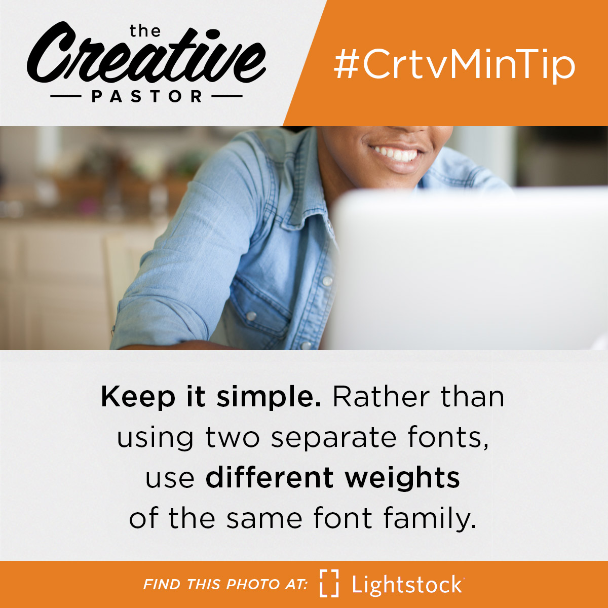 #CrtvMinTip: Keep it simple. Rather than using two separate fonts, use different weights of the same font family.